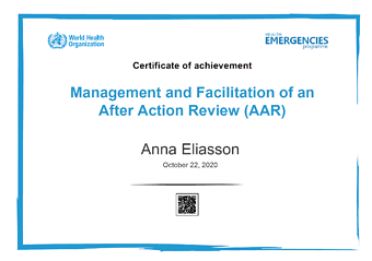 After Action Review: Anna Eliasson
