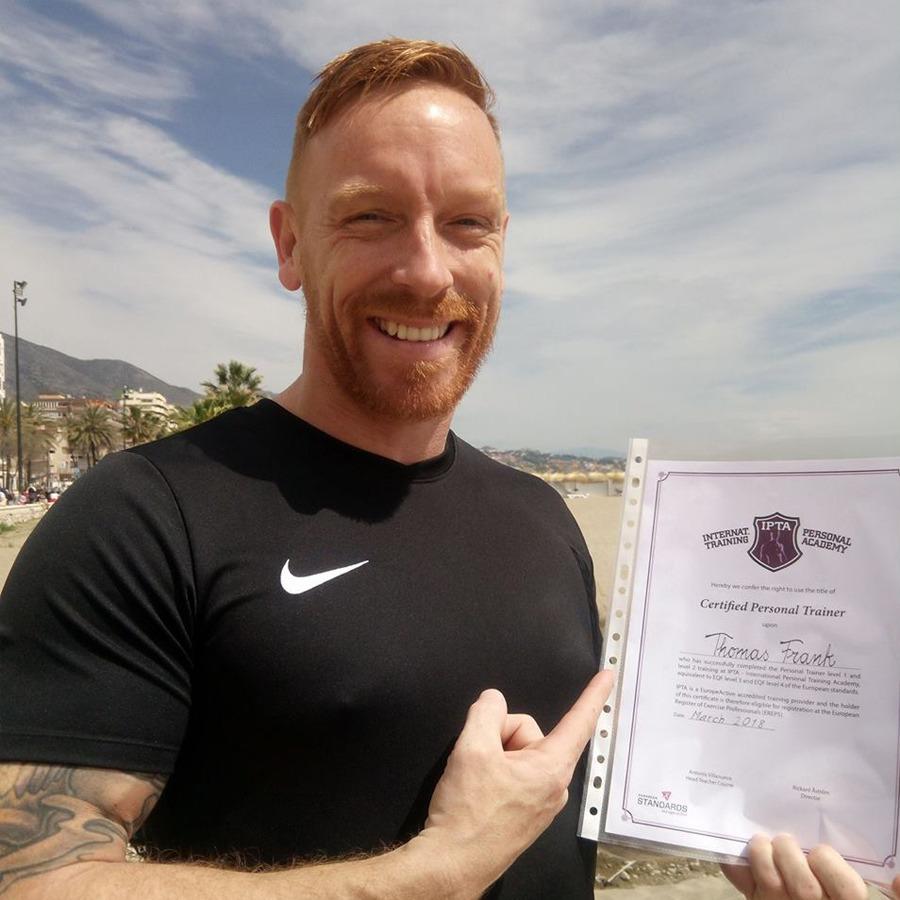 Thomas Franck, var PT-elev hos IPTA i Marbella. Arbetar nu som PT i Málaga (Spanien).
