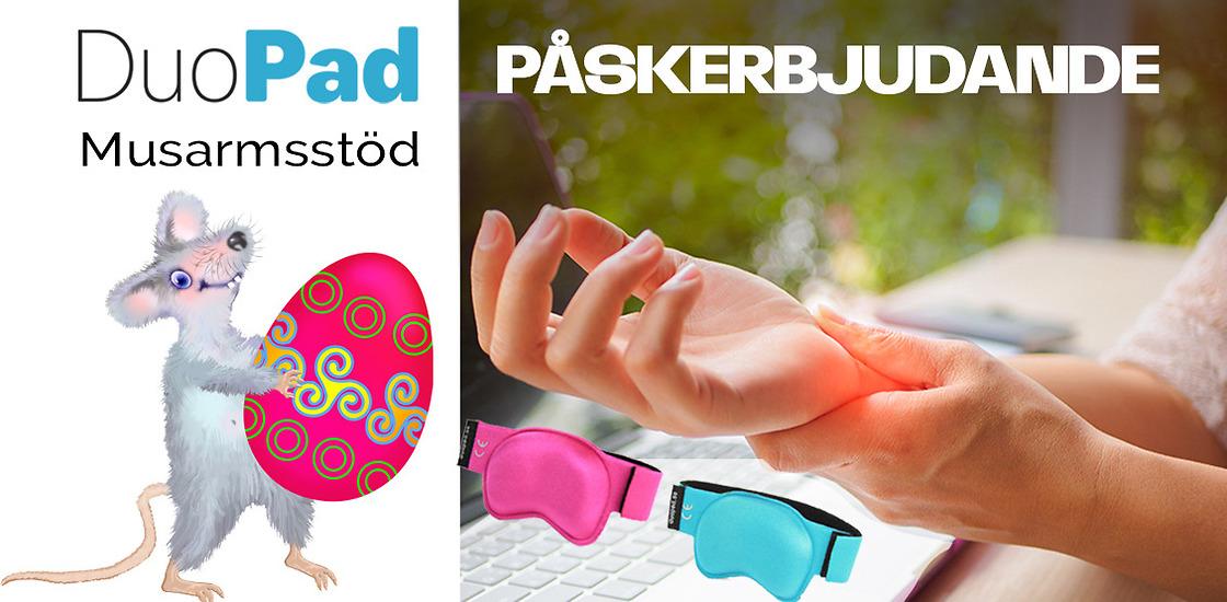 DuoPad Musarmsstöd – Påskerbjudande 149 kr för rosa och turkosa handledsstöd.