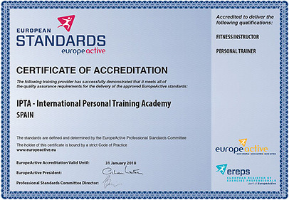 Certificate of Accreditation – IPTA Marbella Spain