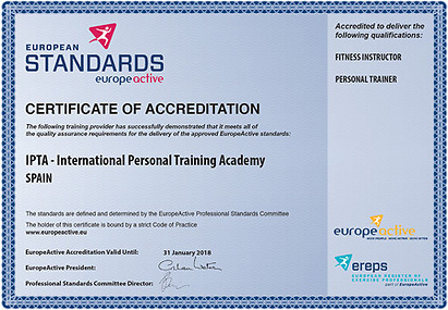 The education at IPTA is of a high standard and has been approved by Europeactive, former European Health and Fitness Association - EHFA.