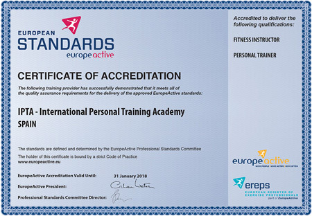 The academy has been approved by Europe Active and leads to a membership in the European Register of Exercise Professionals (EREPS)