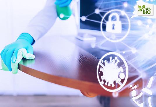Vi jobbar md desinficering som tar död på virus och bakterier.