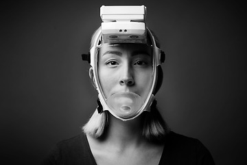 Andningsskydd helmask i miljö
