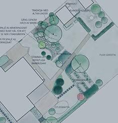 Illustrationsplan av en trädgård